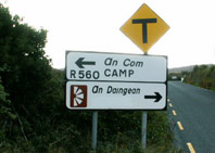 Irish Road Sign 2 showing the name Dingle covered over
