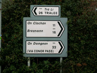 Irish Road sign 4 showing the name Dingle covered over