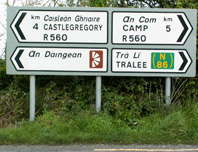 Irish Road Sign 5 showing the name Dingle covered over