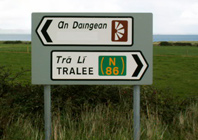 Irish Road sign 6 showing the name Dingle covered over